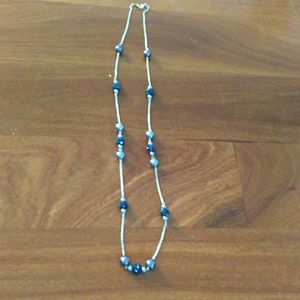 Long blue and silver headed necklace